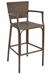 Bar Stool Arm Chair w./ Walnut Frame and Java Wicker Outdoor Bar Stool