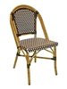 French Rattan Bistro Al Chair; Brown/Ivory