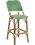 French Rattan Outdoor Patio Bar Stool; Green Ivory Glossy Weave