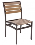 Teak Natural, Slat Wood Faux,Powder Coated Aluminum Frame, and In stock