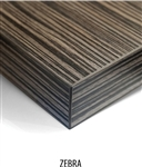"Laminate Zebra Tabletops: In Stock 2"" thick"