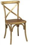 Rustic Natural Cross Back Wood; Farm House Chair
