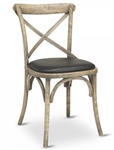 Cross Back Rustic Wood Bistro Dining Chair