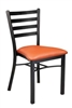 Metal Ladder Back Restaurant Stacking Chair with upholstered seat