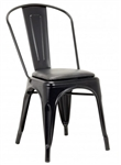 Industrial Metal Chair, Black Clear Finish, Black Padded Seat, foot glides
