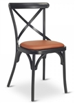 Cross Black Metal Vintage Chair Padded Seat