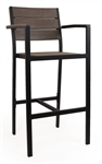 Teak Faux Wood Arm Bar Stool: Brushed Brown