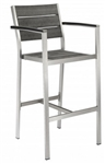 Teak Faux Wood Arm Bar Stool: Pewter