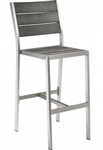 Teak Faux Wood Bar Stool: Pewter