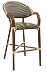 Rattan Bistro Arm Bar Stool: Brown/Ivory All Weather Weave