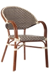 Rattan Bistro Arm Chairs: Brown/Ivory All Weather Weave