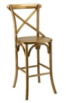 Rustic Cross Back Bar Stool Farm House: Natural