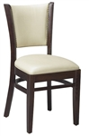 Upholstered Nail Head Restaurant Wood Dining Chair: Black, Dark Mahogany, Cherry