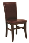 Upholstered Walnut Wood Nail Head Dining Chair