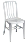 Navy Brushed Aluminum Classic Dining Chair