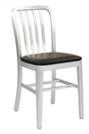 Navy Brushed Aluminum Dining Chair with Padded Seat