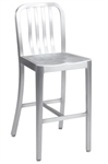 Navy Brushed Aluminum Bar Stool with stretchers; heavy weight.