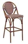 Rattan Bistro Bar Stools.  Aluminum Outdoor Commercial Bar Stools: Brown/Beige,Beige/Green, Mahogany/Beige
