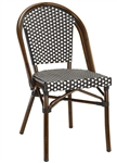 Bistro Rattan Chair with Black White Weave