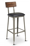 Industrial Bar Stool, reclaimed wood walnut head rest, and black padded seat