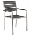 Teak Faux Wood Arm Chair: Pewter