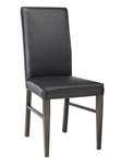 Wood Grain Metal High Back Dining Chair