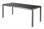Teak Synthetic Complete Tabletops: Black with Brushed Silver