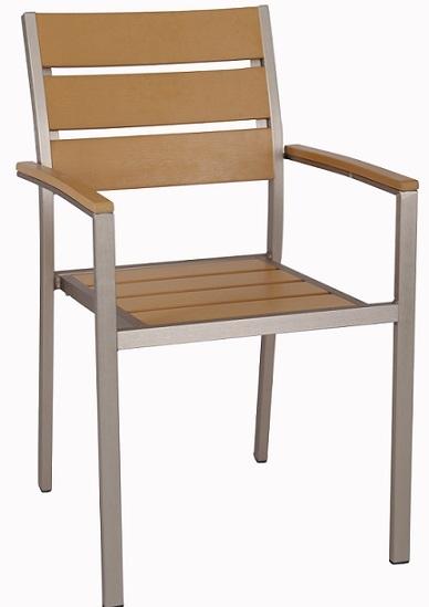 Teak Wood Synthetic Slat Arm Chair