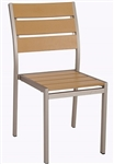 Teak Wood Chair with Natural Faux Slats and Aluminum Frame