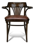Upscale Bent Wood Fan Back Dining Arm Chair