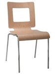 Modern Bent Wood Cut Out Back Stacking Chair