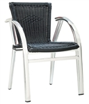 Outdoor Seating,Black Wicker,Chrome Flat Frame, Restaurant Arm Chairs