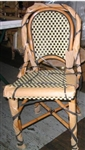 Parisian Rattan Wood Bistro Chair: Creme/Black