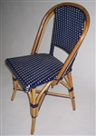 French Bistro Rattan Wood Chair, Navy/Ivory weave, navy leg bindings, and coat of marine wood varnish