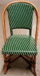 Rattan Bistro Wood Parisian Dining Chair; Green/Ivory