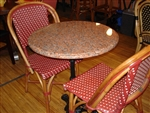 French Rattan Wood Dining Chair: Red/Ivory