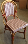 Authentic French Rattan WOOD Bistro Chair. Tri Color Weave: Red,Ivory, Grey with Honey Wood frame