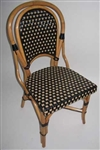French Rattan WOOD bistro dining chair with Black/Beige Glossy Weave