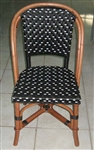 French Bistro Rattan Wood Chair w/ Black/Ivory weave
