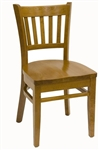Wood Dining Chair with Vertical Slat Back; Restaurant Seating