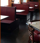 Restaurant Wood Booths in Dark Mahogany with Black padded seat