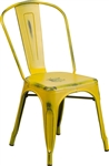 Industrial Metal Chair,,Distressed design,Drain Holes, Stack-able, Antique Yellow