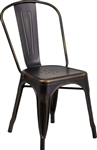 Industrial Bistro Chairs: Distressed Copper