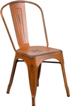 Distressed Orange Bistro Industrial Chair: Indoor Seating