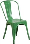 Industrial Green Metal Dining Chair