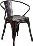 Industrial Arm Chair, Black Distressed, Outdoor Seating