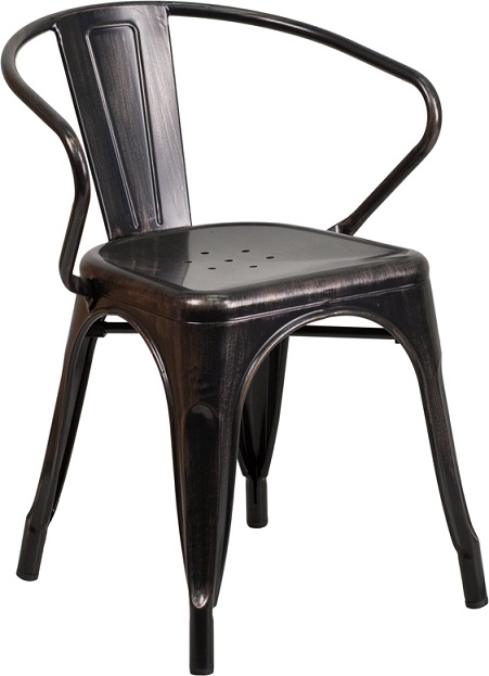 Industrial Antique Black Metal All Weather Chairs