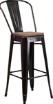 Industrial Bar Stool:  Metal Black/Gold Wood Seat