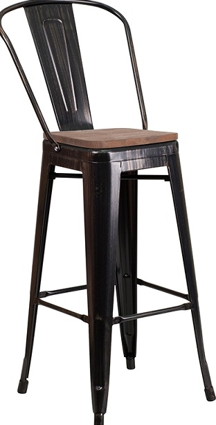 Awesome 35 Industrial Bar Stool Metal Black Gold Wood Seat Ncnpc Chair Design For Home Ncnpcorg