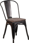 Industrial Era Steel Dining Chair with Antique Black Gold Finish